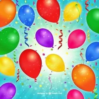 Balões de aniversário e confetti