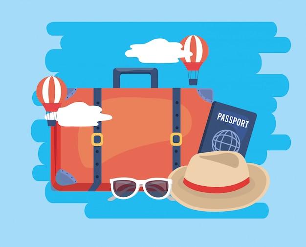 Balões de ar com bagagem de viagem e passaporte