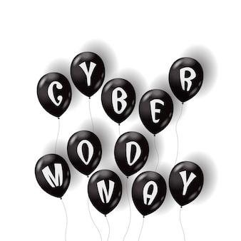 Balões de ar cyber segunda-feira isolados no fundo branco
