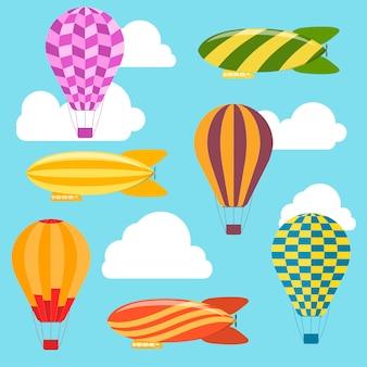 Balões de ar e fundo de dirigíveis.