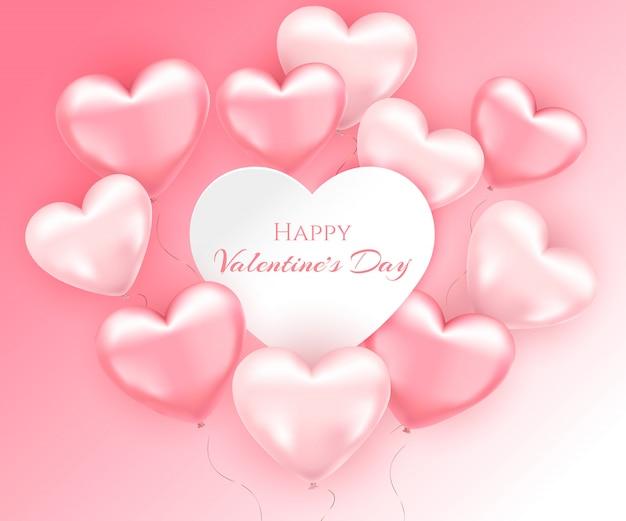 Balões de ar em forma de coração-de-rosa. dia dos namorados