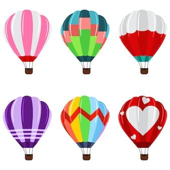Balões de ar quente coloridos com ícones da cesta ajustados.