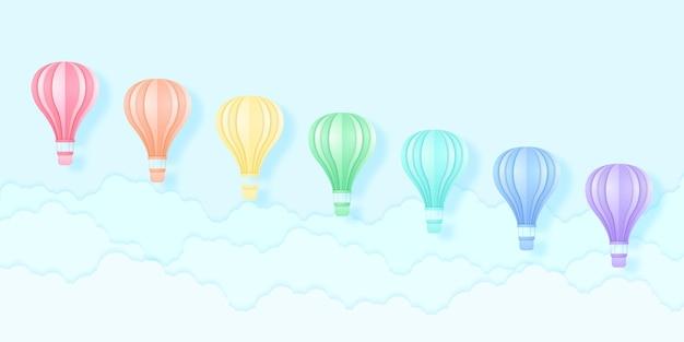 Balões de ar quente coloridos voando no céu azul, padrão de cores do arco-íris, estilo de arte em papel