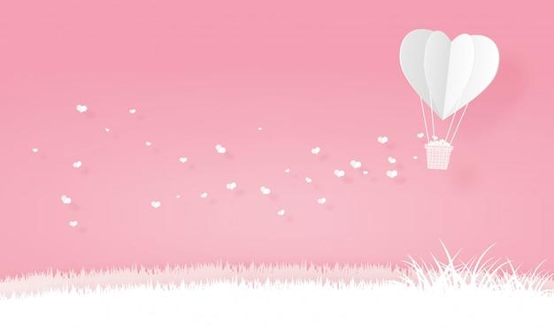 Balões de ar quente de forma de coração de origami