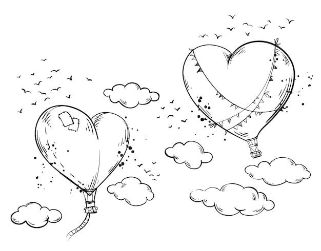 Balões de ar quente em forma de coração pairando no ar entre as nuvens, atmosfera romântica
