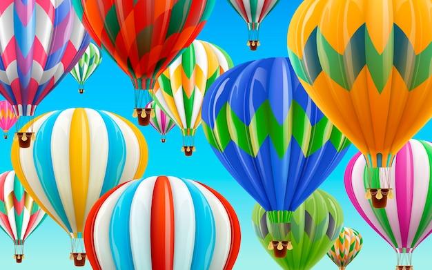 Balões de ar quente no céu, balões coloridos para uso em ilustrações com céu azul claro