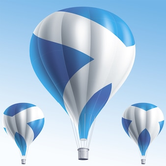 Balões de ar quente pintados com a bandeira da escócia