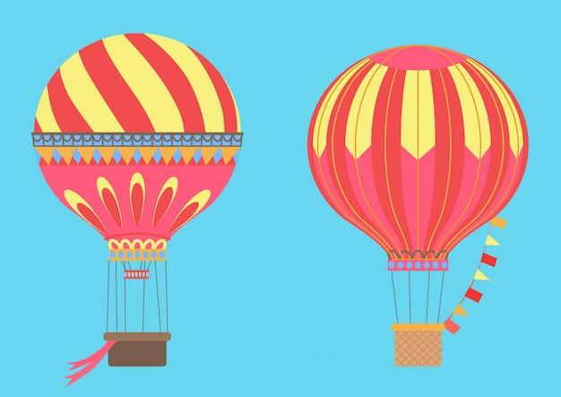Balões de ar quente vintage no céu