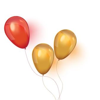 Balões de ar realistas isolados no branco
