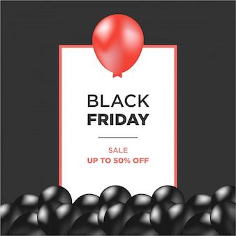Balões de ar vermelho e preto com moldura preta sexta-feira