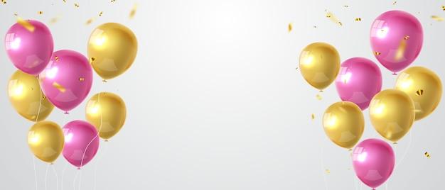 Balões de celebração ouro rosa