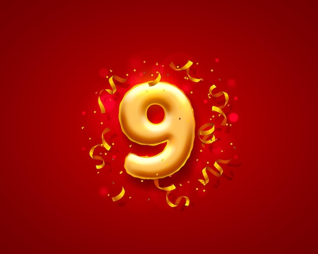 Balões de cerimônias festivas, balões de 9 números.