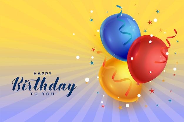 Balões de comemoração feliz aniversário com fundo de confete