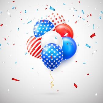 Balões de confete e hélio com bandeira americana isolada