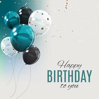Balões de cor brilhante feliz aniversário