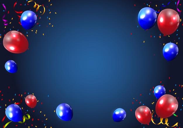 Balões de cor brilhante fundo ilustração vetorial