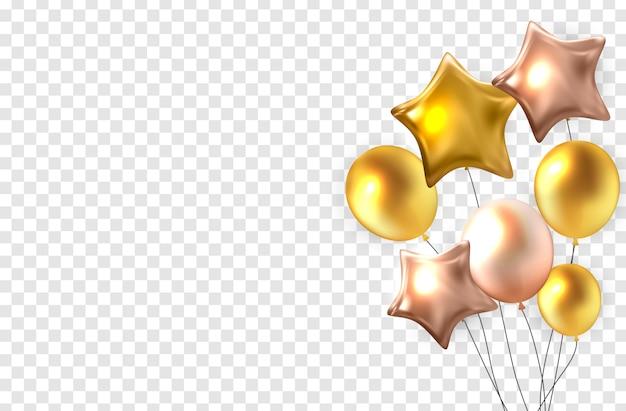 Balões de cor brilhante na ilustração de fundo transparente