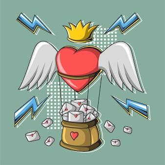 Balões de coração carregam cartas de amor