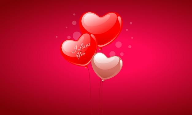 Balões de coração de dia dos namorados
