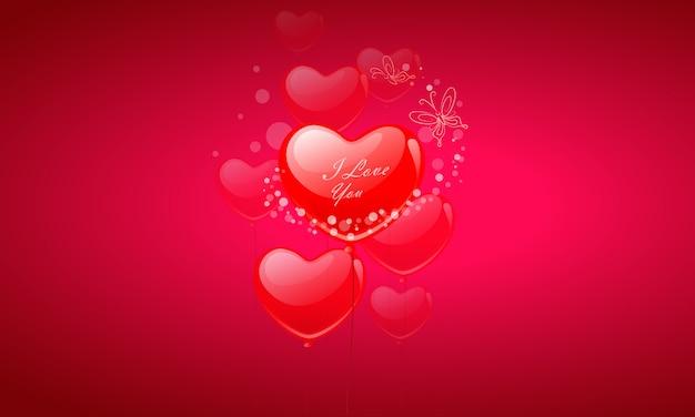 Balões de coração dia dos namorados voando