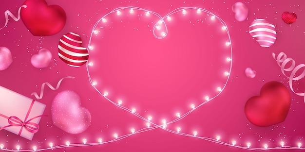 Balões de coração e guirlanda de luz em forma de coração ilustração design