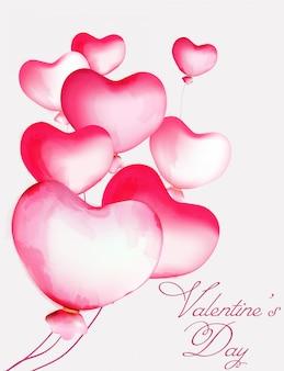 Balões de coração em aquarela de vários tamanhos voando