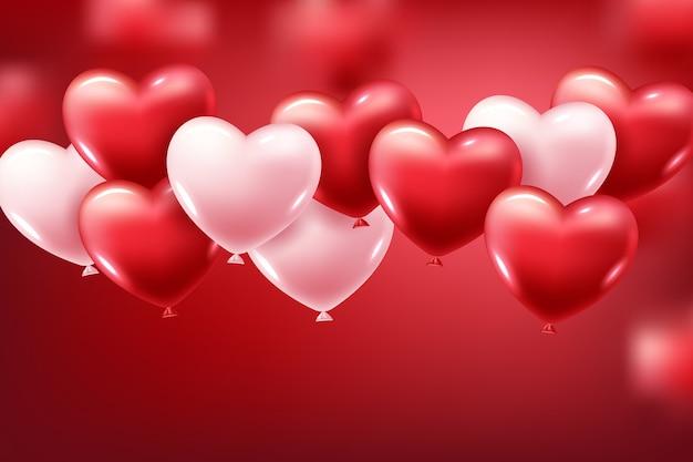 Balões de coração vermelho realista 3d voando