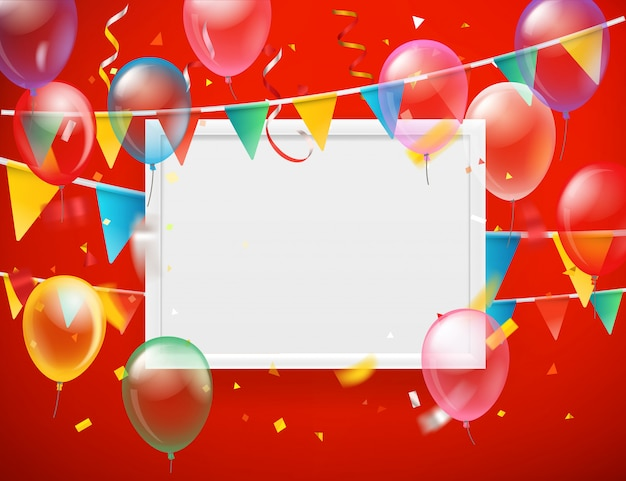 Balões de cores e bandeiras e confetes com moldura branca em branco