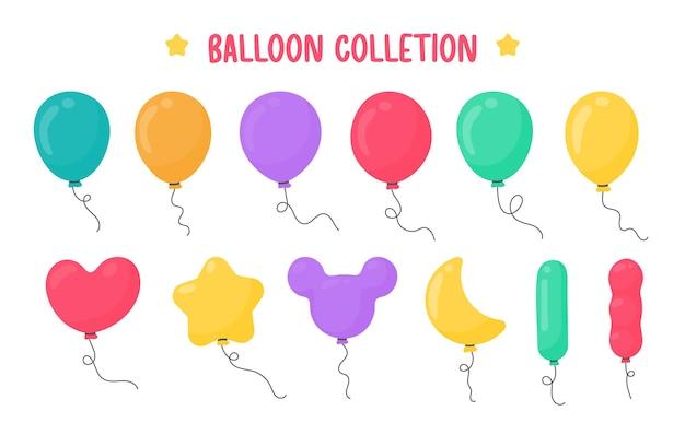 Balões de desenhos animados de várias formas para decoração na festa de confraternização.