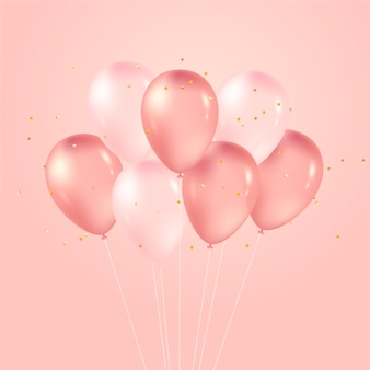 Balões de design realista rosa
