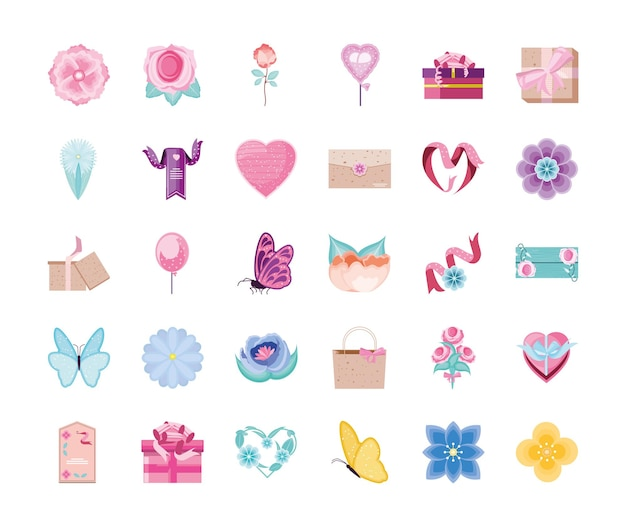 Balões de envelope de flores com decoração romântica