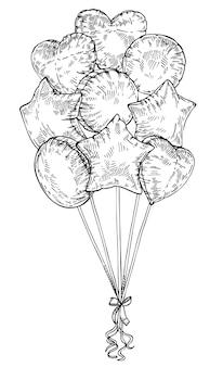 Balões de esboço isolados no branco, mão desenhada tinta cartão de são valentim. coração, balões em forma de estrela