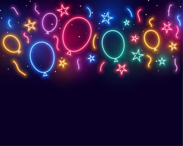 Balões de estrelas e confetes comemorando aniversário