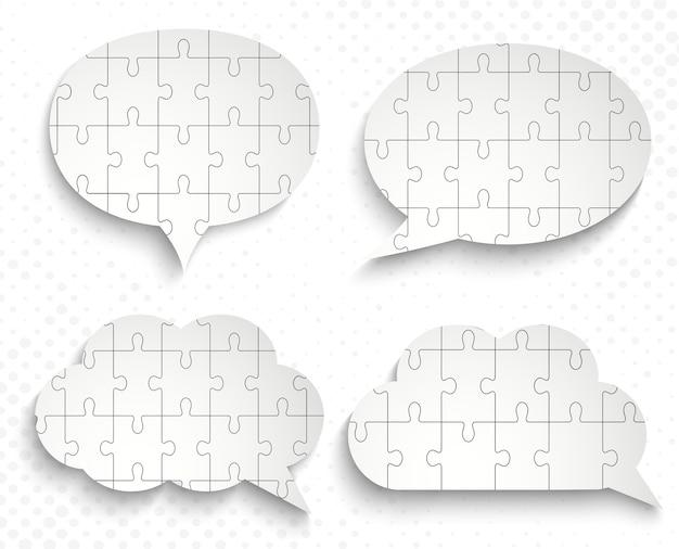 Balões de fala abstratos com quebra-cabeças de pedaços de papel