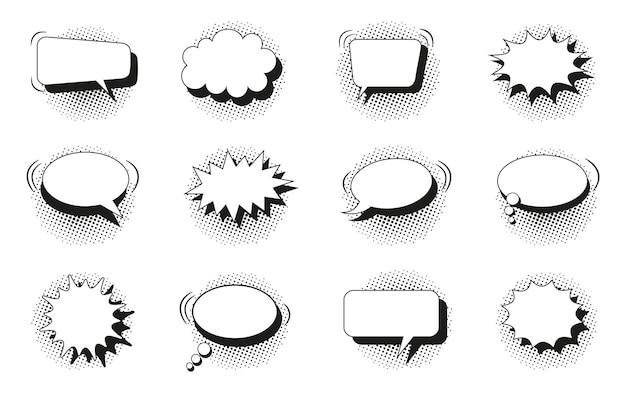 Balões de fala. balões de arte pop em quadrinhos com sombra de meio-tom. caixas de texto preto e branco. nuvens estouradas de estrelas. conjunto de nuvens de bate-papo com pontos. formas de mensagens engraçadas. ilustração vetorial.