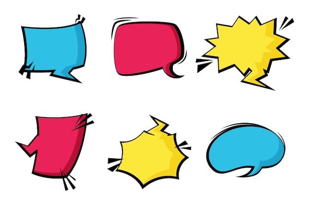 Balões de fala coloridos em estilo de papel