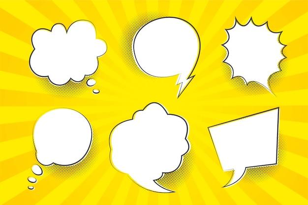 Balões de fala com fundo amarelo