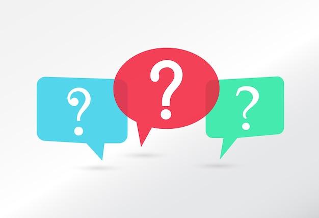 Balões de fala com ícone de interrogação colorido
