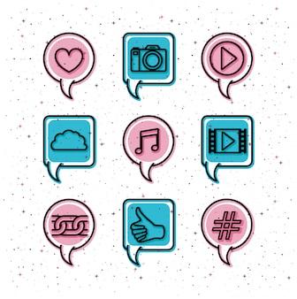 Balões de fala com ícones de tendência de mídia social