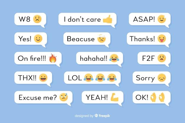 Balões de fala com mensagens e emojis
