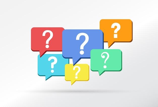 Balões de fala com pontos de interrogação coloridos