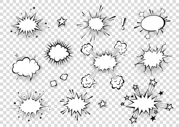 Balões de fala com sombras de meio-tom em desenhos animados, estilo cômico. balões de diálogo. modelo de vetor para mídias sociais, banners de venda.