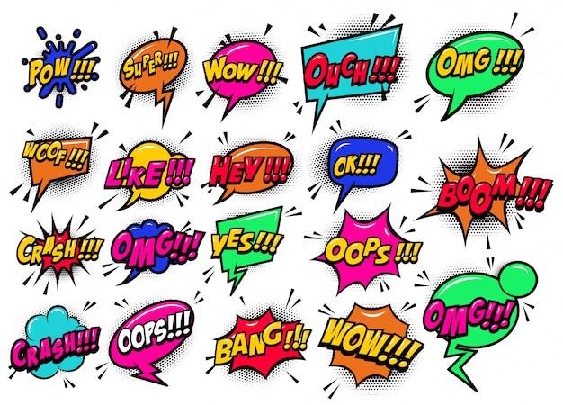 Balões de fala cômicos estouraram o boom, uau, ei, ok, omg, crash. para cartaz, cartão, banner, panfleto. imagem