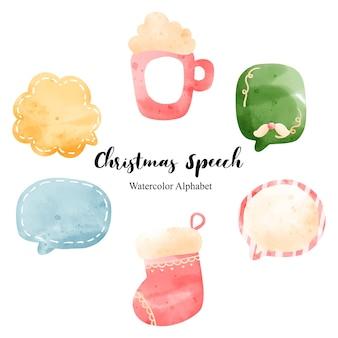 Balões de fala de natal em aquarela, ilustração vetorial.