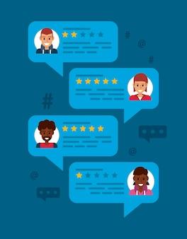 Balões de fala de revisão online