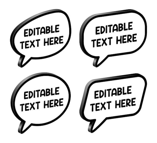 Balões de fala editáveis. elementos de design