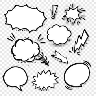 Balões de fala em branco em quadrinhos inseridos em linha preta