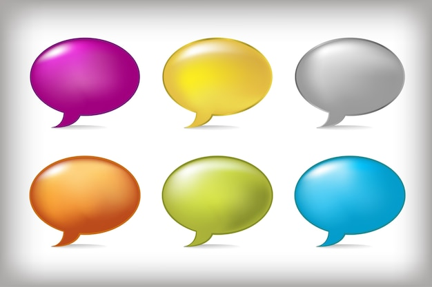 Balões de fala, em fundo cinza, ilustração