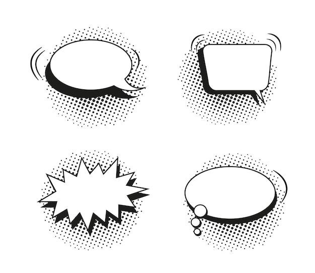 Balões de fala em quadrinhos. balões de pop art com efeito de meio-tom. ilustração vetorial.