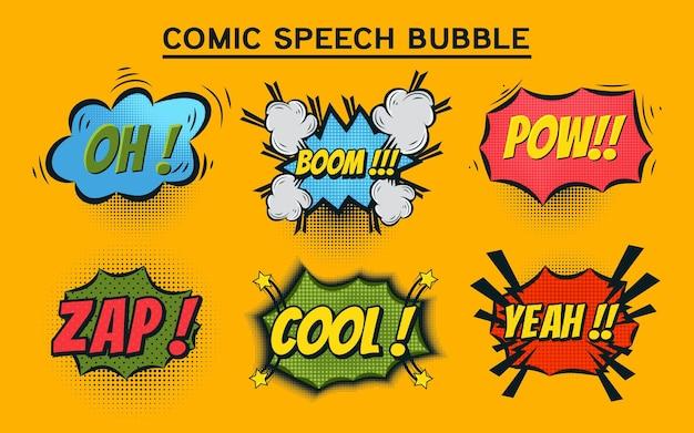 Balões de fala em quadrinhos com diferentes emoções e texto. ilustração em vetor brilhante dinâmica dos desenhos animados